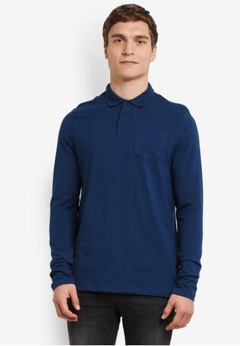 Burton Menswear London blue Petrol Long Sleeve Stretch Polo Shirt BU964AA0S2BJMY_1