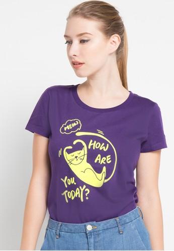 Bossini purple S/Slv R/Nk Print Tee(Bl:24) BO894AA76SJVID_1