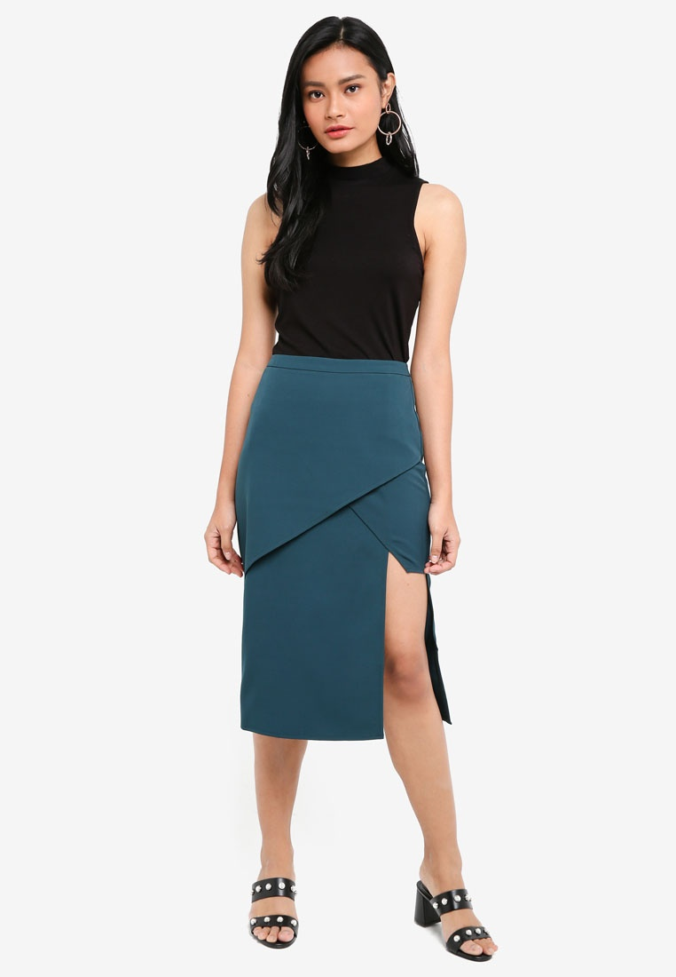 Borrowed Teal Something Midi Asymmetric Skirt Panelled 1pFxWRxn