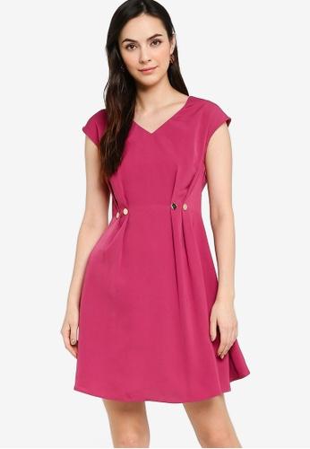 ZALORA WORK pink Button Detail V Neck Dress D8D79AA6746DFFGS_1