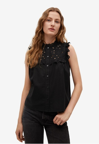 Mango black Swiss Embroidery Cotton Blouse E2E01AAC182789GS_1