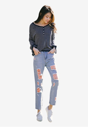 Lara blue Women's Denim Jeans with Ripped Details 00A7BAA2F738AAGS_1