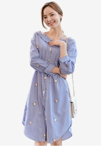 Shopsfashion blue Boat Necked Midi Dress 71878AA8FEB16AGS_1