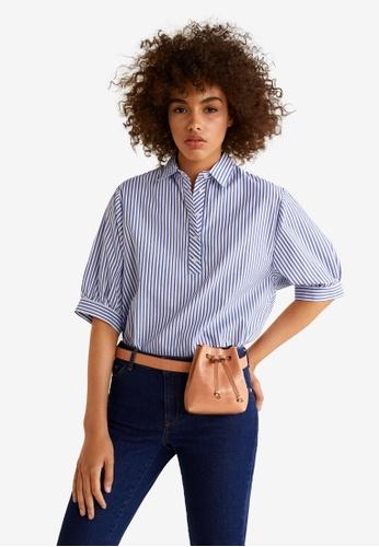 Mango blue Striped Cotton Shirt 25D9EAAA80E5DFGS_1