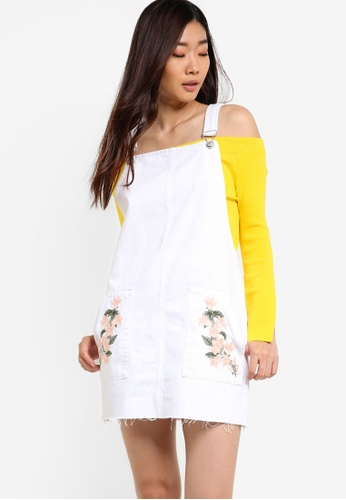 TOPSHOP white Moto Tulip Embroidered Pinafore Dress TO412AA26YNPMY_1