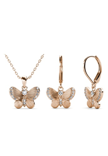 Her Jewellery gold Chrysalis Butterfly Set (Rose Gold) - Made with premium grade crystals from Austria 7C3F3AC6864BC3GS_1