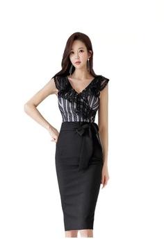 afe7a1227d34d Crystal Korea Fashion black Summer V-neck Tulle Lace Stitching Slim Dress  5A280AAB5FF573GS 1