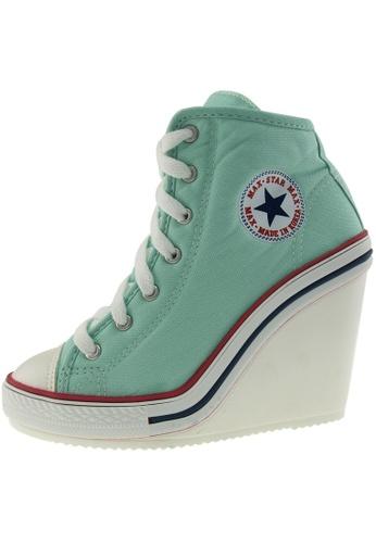 Maxstar 綠色 新款韩国鞋777-SZ時尚帆布布混合女浅蓝色 US Women Size MA345SH69HCCTW_1