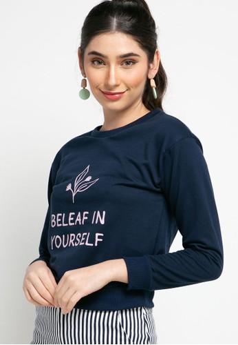 MEIJI-JOY navy Sweater Atasan Lengan Panjang Print Be Leaf In Your Self F24A9AAEB77AD9GS_1