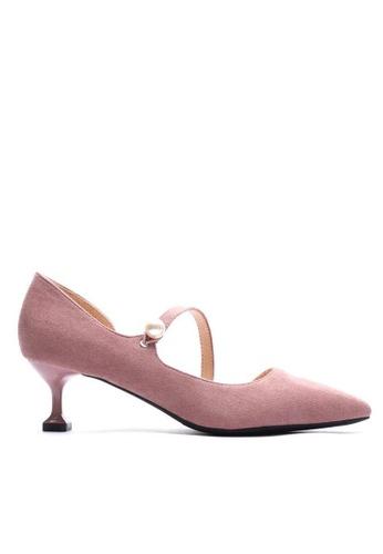 Twenty Eight Shoes 粉紅色 珍珠扣尖頭絨面高踭鞋6203-6 47C74SH322DD29GS_1
