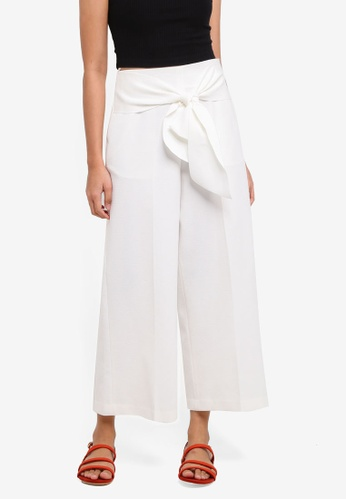 TOPSHOP white Bonded Cropped Wide Trousers EFAAEAA9D14303GS_1