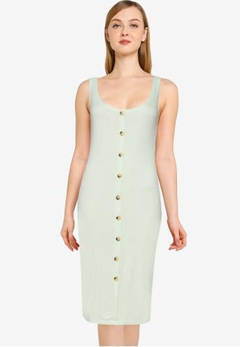 Brave Soul green Button Through Midi Dress 27731AA82FA9D5GS_1