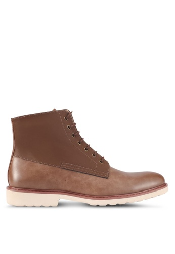 ZALORA brown Faux Leather Lace-Up Boots 7647ASHB09A8F0GS_1