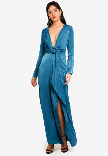 MISSGUIDED blue Wrap Front Maxi Dress 29138AA320287BGS_1