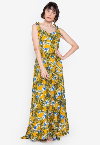 Purple Shore yellow Floral Long Dress With Strappy Ribbon 34AC0AA25613ACGS_1
