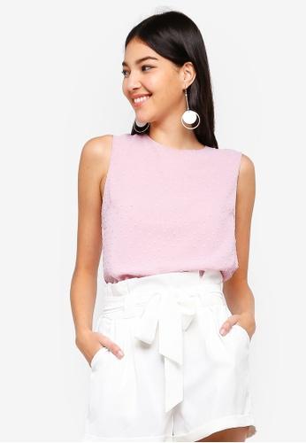 ZALORA pink Textured Sleeveless Top 6645DAA0DB5CFFGS_1