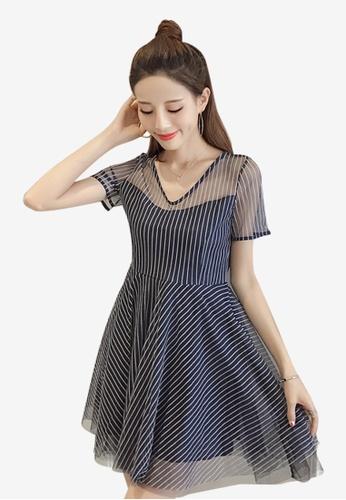 Lara multi Stylish Stripe Short sleeves One piece Dress with Belt 0B73AAA1AD1794GS_1