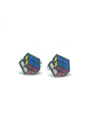 Splice Cufflinks multi 2D Rubiks Cube Cufflinks  SP744AC49DXQSG_1