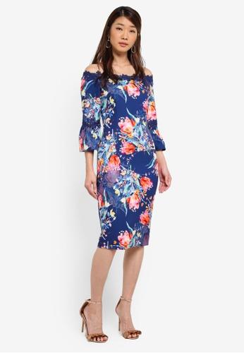 Paper Dolls navy Floral Tulip Bardot Flute Sleeve Dress C0901AA69D6CCBGS_1