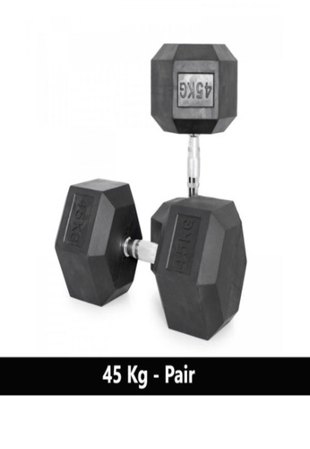 LIVE UP AND LIVE PRO. black Liveup Rubber Hexagonal Dumbbells - 45Kg (Sold as Pairs) 3C034SEEC9E6F1GS_1