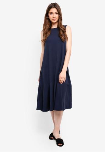Something Borrowed navy Sleeveless Fluted Hem Midi Dress AA058AAA773A8DGS_1