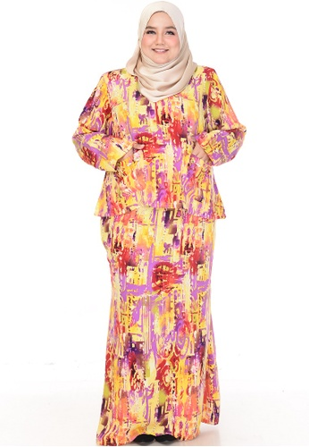Nayli red and yellow and purple Nayli Plus Size Embellished Kurung Kedah With Pockets in Yellow 10F7BAA39F917BGS_1