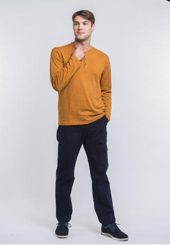 Roamers 褐色 男裝半開襟有機棉麻上衣 057FBAAC40C096GS_1