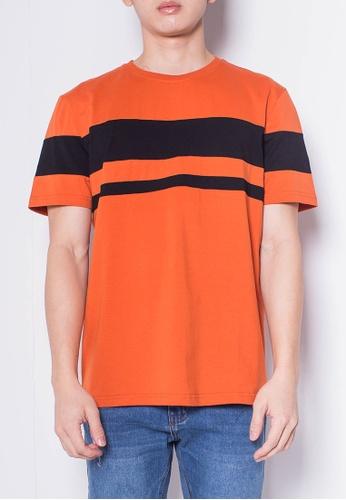 SUB orange Men Short-Sleeve Striped Panel Tee 07E2CAABCD720EGS_1