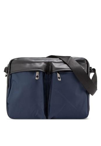 異材質雙口袋斜背包, 包, zalora 折扣碼郵差包