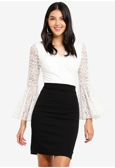 dfa54a23df WALG black and white and multi Contrast Lace Dress With Fluted Long Sleeve  792FDAA1AB0EBEGS_1