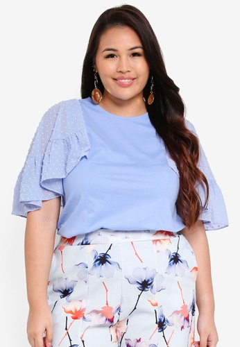 LOST INK PLUS blue Plus Size Top With Dobby Flutter Sleeve 1EE2BAA961306CGS_1
