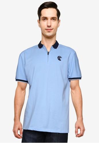 Fidelio blue Embroidery Zipper Polo Shirt 7ABA7AA342AEB9GS_1