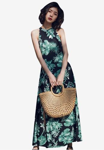Sunnydaysweety multi Floral Long Halter One Piece Dress F7CFBAA2A14901GS_1