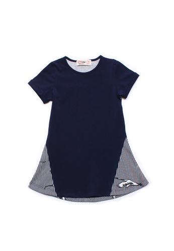 Mini Moley navy Crane Print Girl's Shift Dress 7DF45KA2BD8D9EGS_1