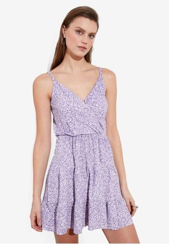 Trendyol purple V Neck Floral Print Dress 06AF9AA4FCC5E4GS_1