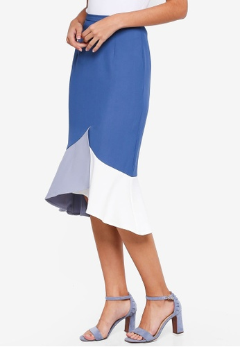MDSCollections blue Color-Block Mermaid Skirt In Ash Blue 88EEBAAA11EE39GS_1