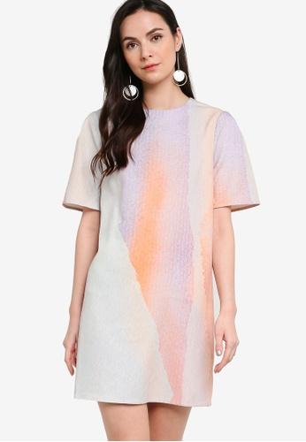 ZALORA WORK multi Printed Short Sleeves Boxy Dress 71CA7AAF560CACGS_1