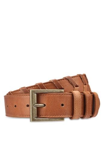 Pieces brown Fikka Leather Jeans Belt 98554AC0144D22GS_1