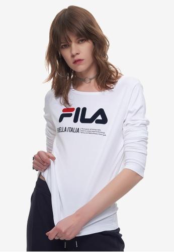 178ab8461d1 FILA white FILA Logo Long Sleeve T-Shirt 89432AAADCC9EFGS_1