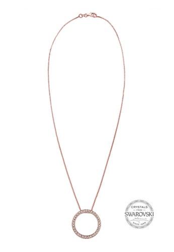 Elli Germany pink and gold Elli Germany Rose Gold Plated 925 Sterling Silver Circle Swarovski® Crystal Necklace EL474AC0S1ZAMY_1