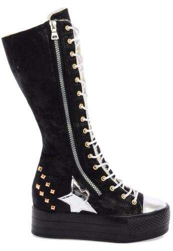 Maxstar black C50 568 Inside Fur Synthetic Leather Studed Black Plarform Half-Long Boots MA164SH18CJLSG_1