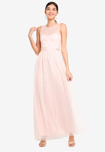 Little Mistress beige Nude Mesh Maxi Dress EB97FAA69042D1GS_1