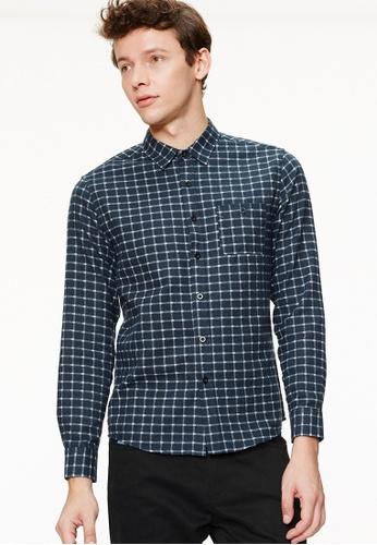 Life8 blue Casual Flannel Gingham Check Shirts With Grandad Collar-03887-Blue LI283AA0GOP5SG_1