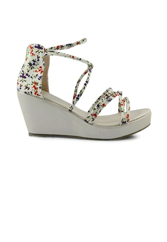 SHINE beige Flower Cloth White Strape Wedges Sandal 9769ASHD2D2FB1GS_1