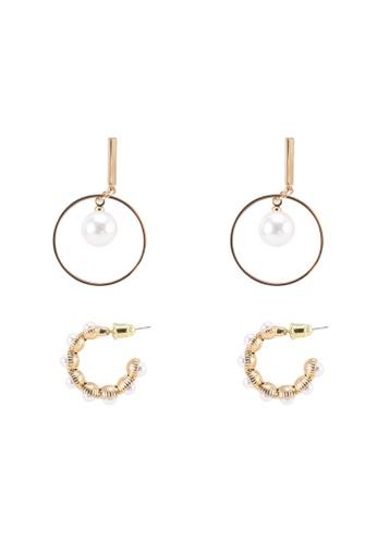 Red's Revenge gold 2-in-1 Modern Pearls Earrings Set 6E66AAC21D3151GS_1