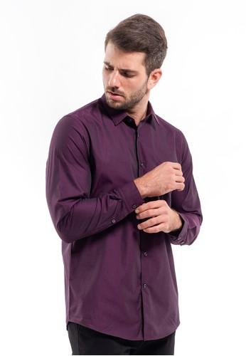 MANLY purple MANLY Kemeja Slim Fit Plain Evander Purple RL 515C0AA1C16915GS_1