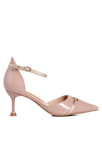 Twenty Eight Shoes 粉紅色 蛇紋幼帶高跟鞋 VL1913 70D04SH327B6DCGS_1