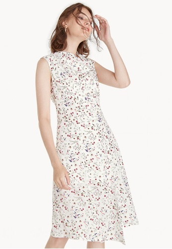 Pomelo white Cowl Neck Floral Dress - White 87AA0AA31E4CE0GS_1