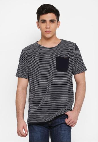Indicode Jeans 海軍藍色 短袖條紋口袋T恤 F4A87AABC424CAGS_1