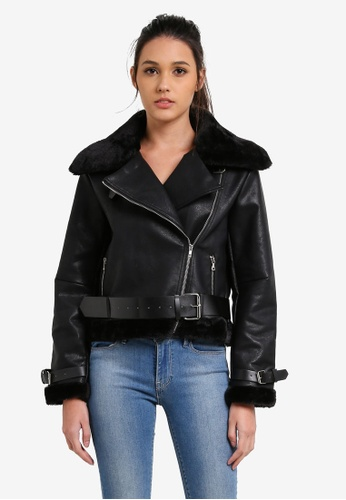 Something Borrowed black Structured Faux Leather Jacket BE801AA3F7F121GS_1